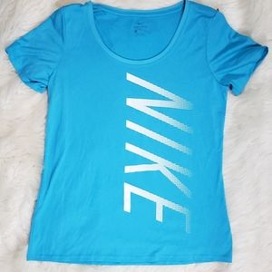 Nike Womans Dri Fit Blue Short sleeve Workout Tee